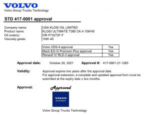克劳斯KLOSI 商用车机油获得VOLVO沃尔沃认证